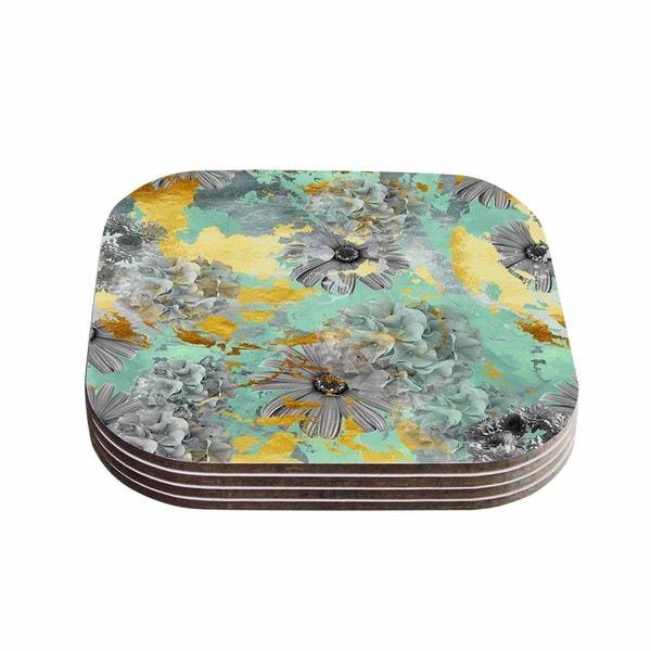 Zara Martina Mansen 'Mint Gold Garden' Green Gray Coasters (Set of 4)