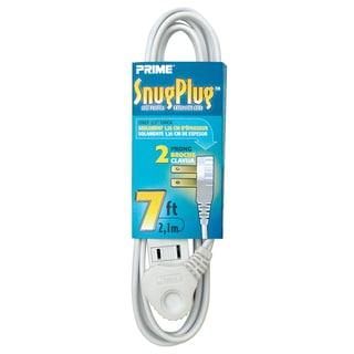 Prime EC920607 7' 16/2 SPT-2 White 3-Outlet Low-Profile Extension Cord