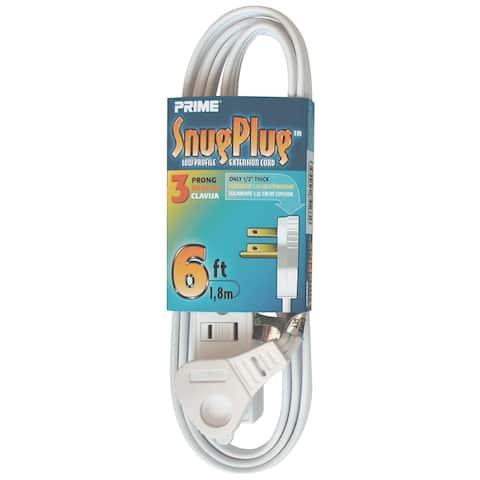 Prime EC930606 6' 16/3 SPT-2 White 3-Outlet Low Profile Extension Cord