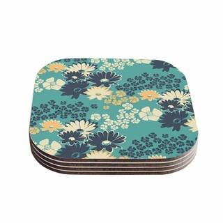 Zara Martina Mansen 'Teal Color Bouquet' Green Blue Coasters (Set of 4)