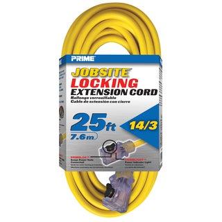 Prime ECPL511725 25' 14/3 SJTW Yellow Outdoor Jobsite Locking Extension Cord