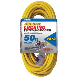 Prime ECPL511730 50' 14/3 SJTW Yellow Outdoor Jobsite Locking Extension Cord