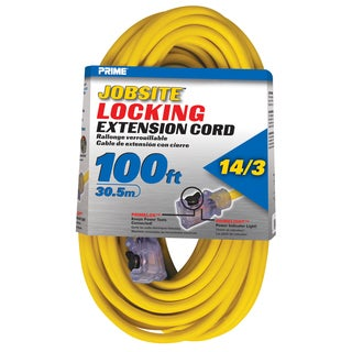 Prime ECPL511735 100' 14/3 SJTW Yellow Jobsite Locking Extension Cord
