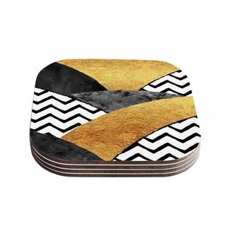 Zara Martina Mansen 'Chevron Hills' Gold Black White Coasters (Set of 4)