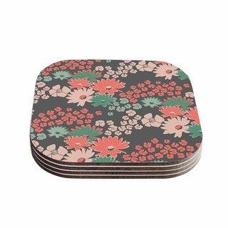 Zara Martina Mansen 'Natures Bouquet' Coral Green Coasters (Set of 4)