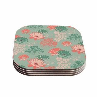Zara Martina Mansen 'Wild Gatherings' Green Coral Coasters (Set of 4)
