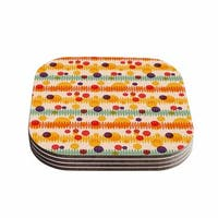 Yenty Jap 'Bubble Stripes Fun' Orange Geometric Coasters (Set of 4)