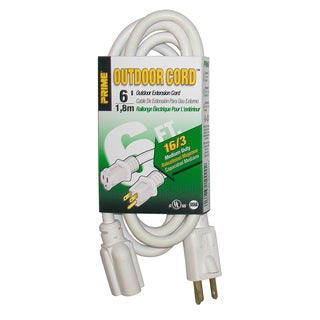 Prime EC883606 6' 16/3 SJTW White Outdoor Extension Cord