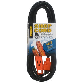 Prime EC890715 15' 14/3 SJT Black/Orange 3-Outlet Shop Extension Cord