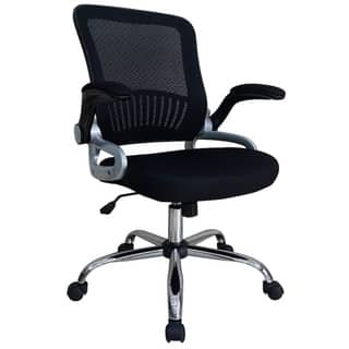 Comfortable Upholstered Office Chair - Mesh, Flip-up nylon arms, Tilt, Black https://ak1.ostkcdn.com/images/products/11776176/P18688134.jpg?impolicy=medium