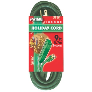 Prime EC895609 9' 16/3 SJT Green 3-Outlet Indoor Holiday Extension Cord
