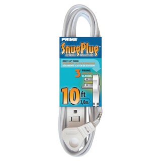 Prime EC930610 10' 16/3 SPT-2 White 3-Outlet Low Profile Extension Cord