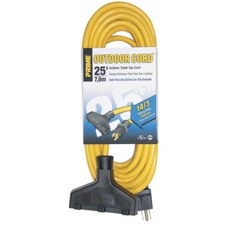 Prime EC600725K 25' 14/3 SJTW Yellow Triple-Tap Outdoor Extension Cord
