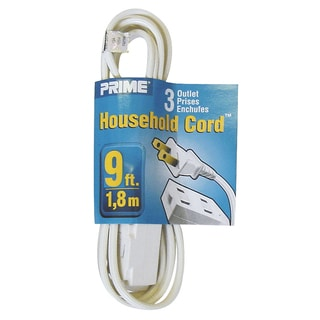 Prime EC660609 9-foot 16/2 SPT-2 White Household Extension Cord