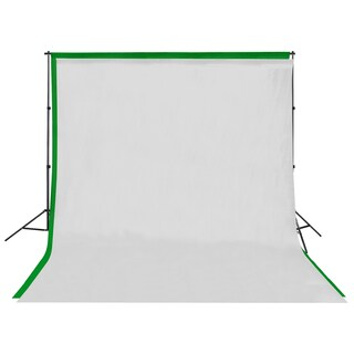 Square Perfect Background Stand with 6' x 9' White and Green Screen Muslin Backdrops