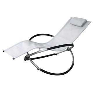 Vanilla Orbit White Outdoor Rocking Lounge Chair