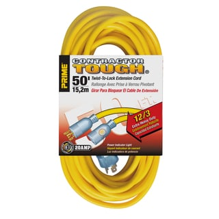 Prime EC730830 50' SJTW Yellow Twist-To-Lock Outdoor Extension Cord