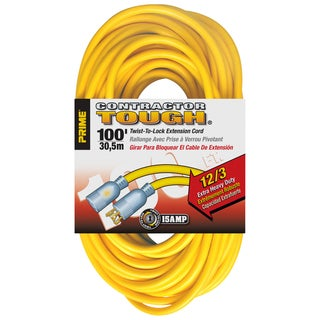 Prime EC730835 100' 12/3 SJTW Yellow Twist-To-Lock Outdr Ext Cord