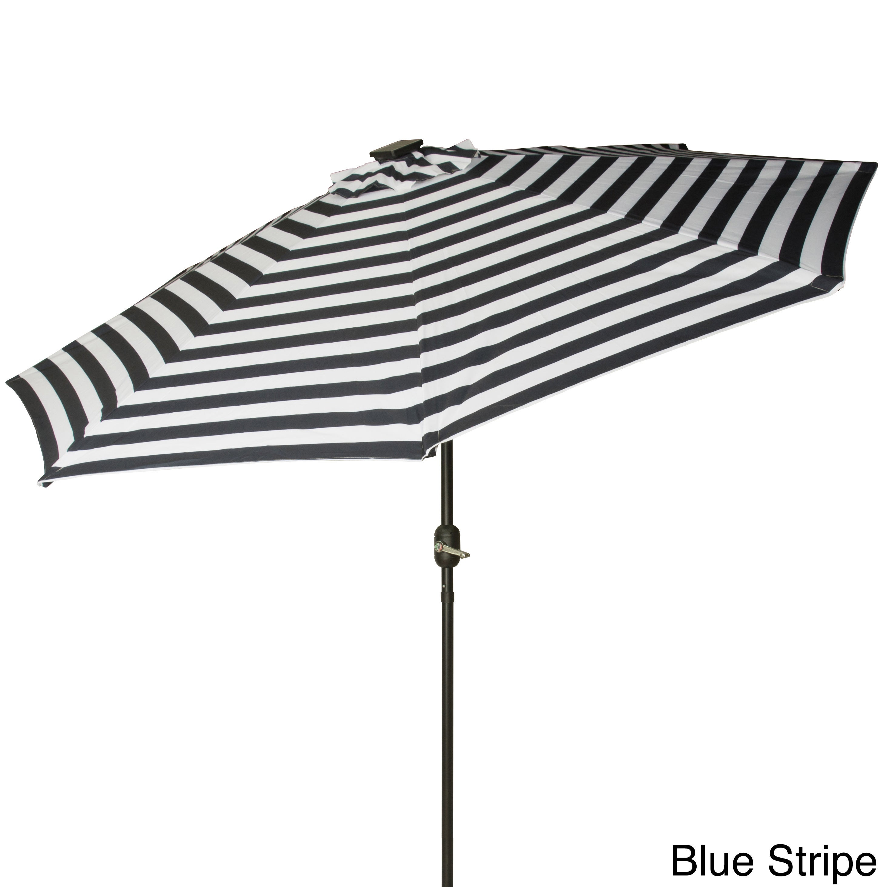 Deluxe Solar Powered LED Lighted Patio Umbrella 9 Teal Outdoor