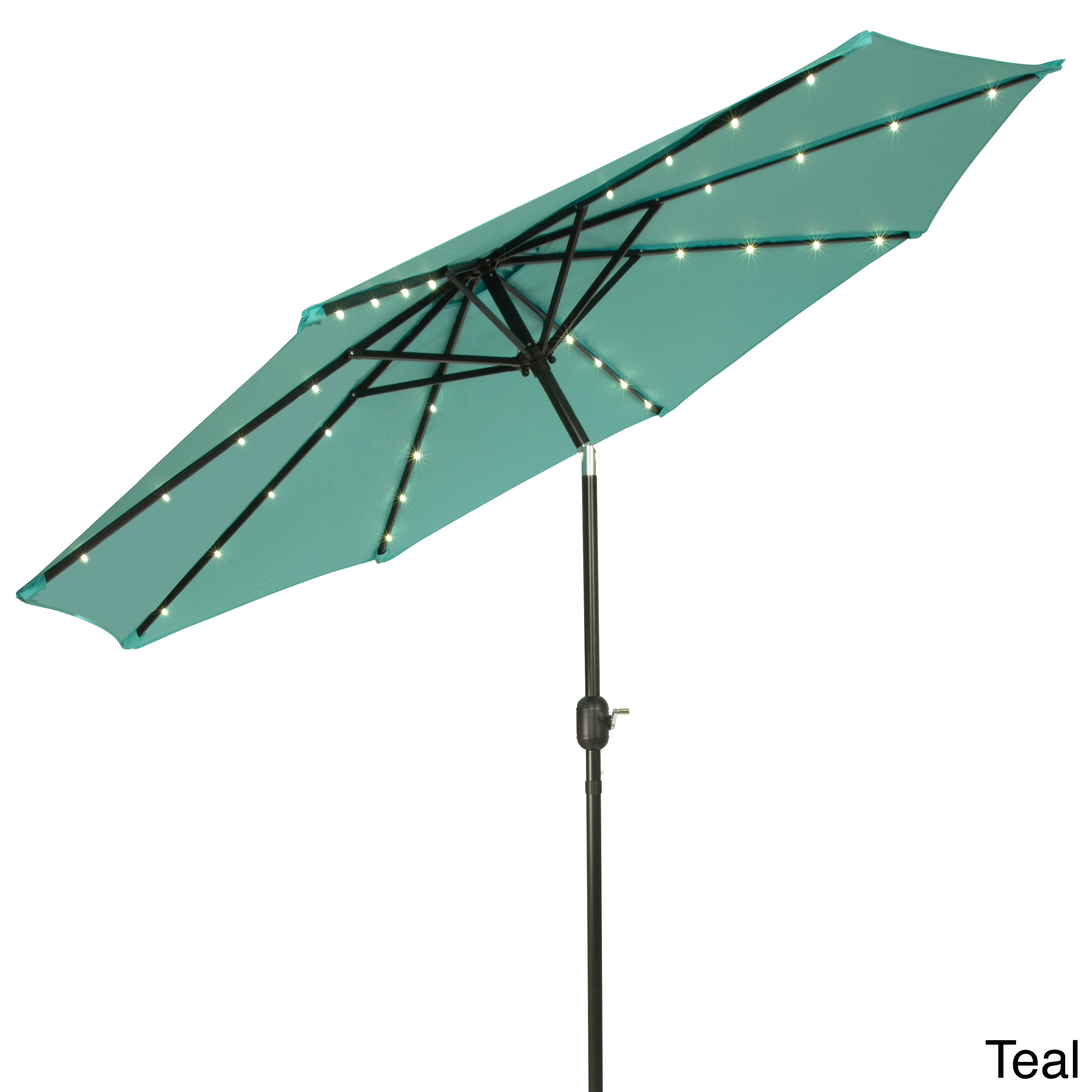Deluxe Solar Powered Led Lighted Patio Umbrella 9 Teal Outdoor Home