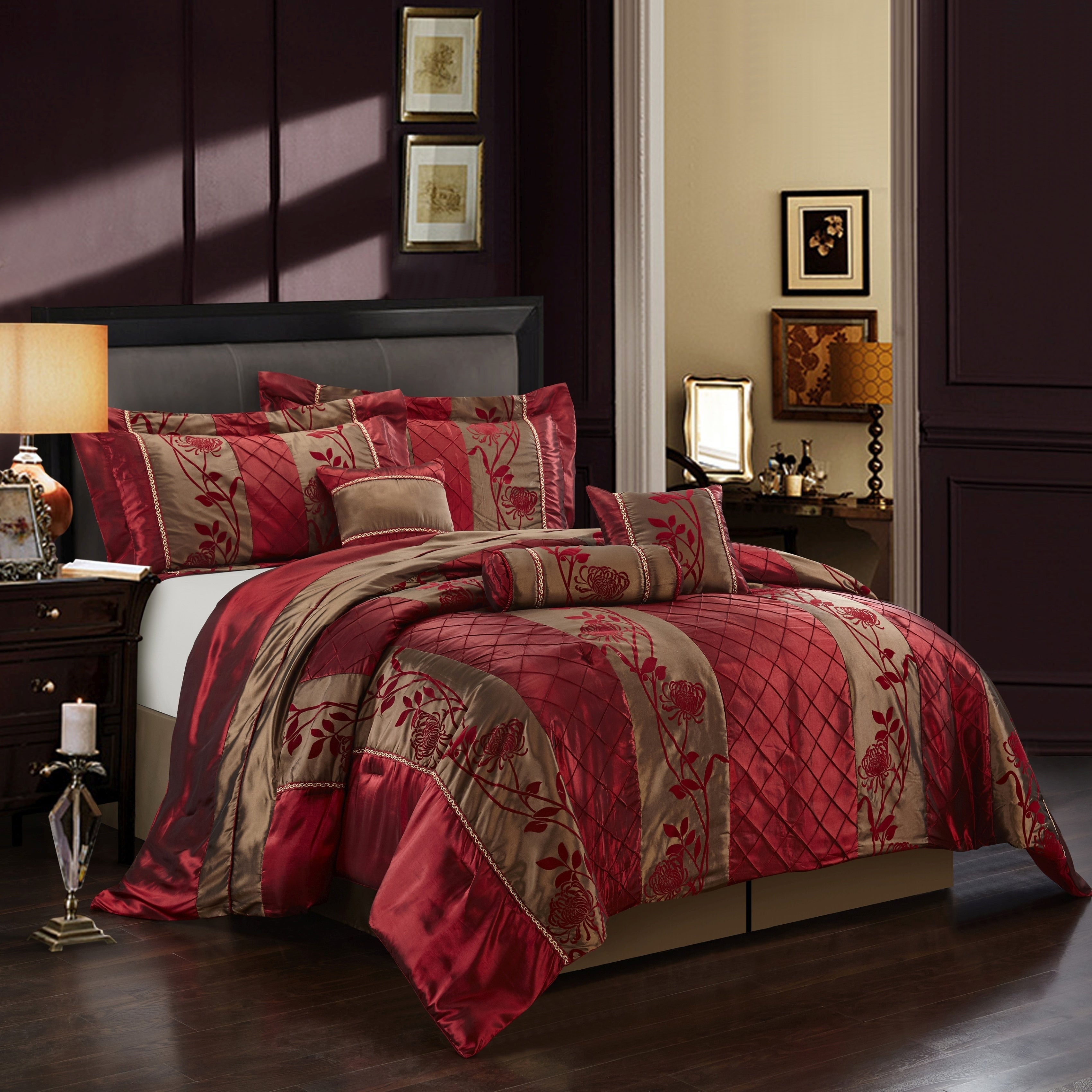 Grand Avenue Pepper 7 Piece Red Gold Comforter Set Overstock 11776367