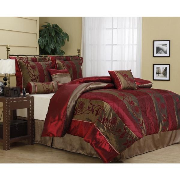 Nanshing Rosemonde 7-piece Red/ Gold Comforter Set