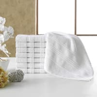 Berrnour Home Solomon Collection Bordered Design Luxury Washcloth (Pack of 8)