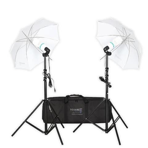 Square Perfect Premium Photo Studio Lighting Umbrella Stands and Full Spectrum Lights