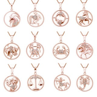 Rose Goldplated Sterling Silver 1/8ct TDW Diamond Zodiac Pendant (J-K, I2-I3)