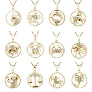 Yellow Goldplated Sterling Silver 1/8ct TDW Diamond Zodiac Pendant (J-K, I2-I3)