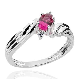 Sterling Silver 6x4mm Oval Created Ruby and Cubic Zirconia Ring (China)