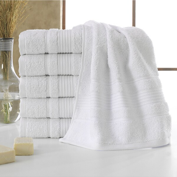 Berrnour Home Solomon Collection Bordered Design 600 GSM Luxury Hand Towels (Pack of 6)