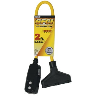 Prime GF420802 2' 12/3 SJTW Yellow Triple Tap Adapter W/GFCI Plug