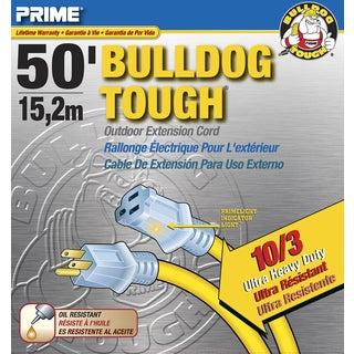 Prime LT511930 50' 10/3 SJTOW Yellow Bulldog Tough Extension Cord
