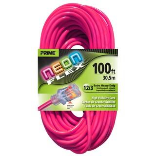 Prime NS513835 100' 12/3 SJTW Neon Pink Neon Flex Extension Cord