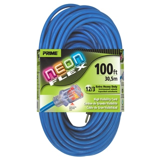 Prime NS514835 100' 12/3 SJTW Neon Blue Neon Flex Extension Cord