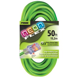 Prime NS512830 50' 12/3 SJTW Neon Green Neon Flex Extension Cord