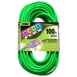 Prime NS512835 100' 12/3 SJTW Neon Green Neon Flex Extension Cord
