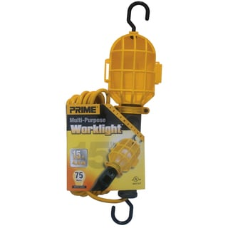 Prime TL090515 15' 18/2 SJT Yellow Work Light With Plastic Guard