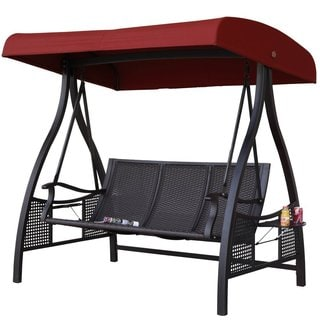 Abba Patio Three Seater Outdoor Metal Porch Swing with Adjustable Tilt Canopy Woven Seats and Built-in Side Tables