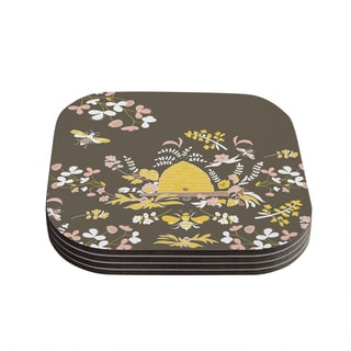 Very Sarie 'Hope for the Flowers II' Yellow Brown Coasters (Set of 4)