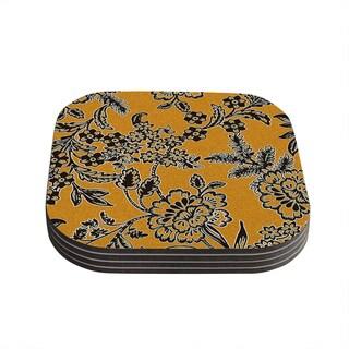 Vikki Salmela 'Golden Blossom' Gold Black Coasters (Set of 4)