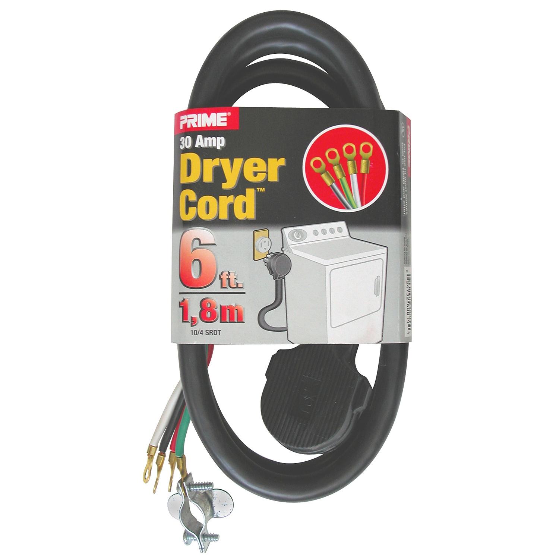 Prime RD100406L 6' 10/4 Srdt Black 30 Amp Dryer Cord (Pow...