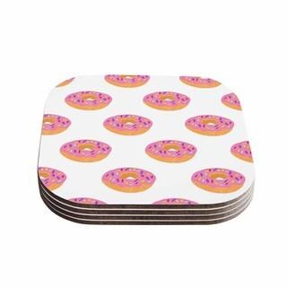 Vasare Nar 'Doughnut Heaven' Pink Digital Coasters (Set of 4)