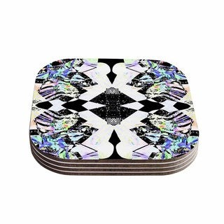 Vasare Nar 'Abstract Zebra' Black Lavender Coasters (Set of 4)