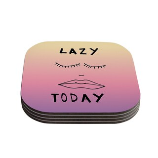 Vasare Nar 'Lazy Today Tropical' Yellow Pink Coasters (Set of 4)