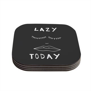 Vasare Nar 'Lazy Today Grey' Typography Gray Coasters (Set of 4)