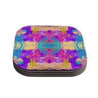 Vasare Nar 'Glitch Kaleidoscope' Pink Purple Coasters (Set of 4)