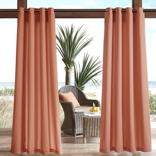 Madison Park Mission Solid 3M Scotchgard Outdoor Curtain Panel (Option: 54X95 - CORAL)