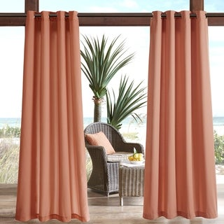 Madison Park Mission Aqua Solid 3M Scotchgard Outdoor Curtain Panel
